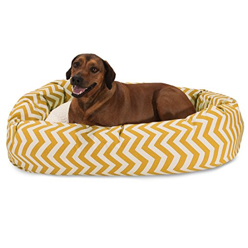 Bed Bagel 52 (52 inch Yellow Chevron Sherpa Bagel Dog Bed)