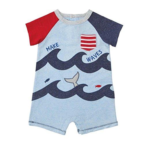 Mud Pie Baby Boys Ocean Waves Short Sleeve Raglan One Piece Playwear, Blue, 9-12 Months