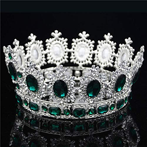 Large Queen King Pageant Crown For Wedding Tiaras And Crowns Big Crystal Rhinestone Diadem Bridal Headdress Hair Jewelry Silver Green ()