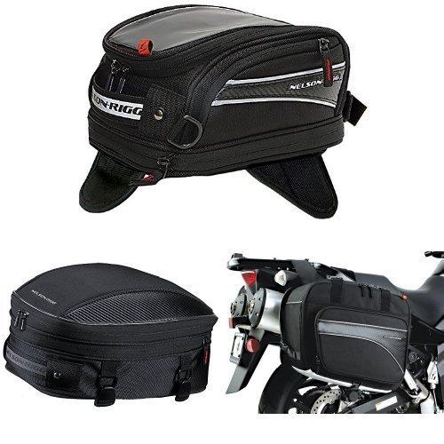 Nelson-Rigg CL-2014-MG Black Magnetic Mount Journey Mini Tank Bag,  CL-1060-S Black Sport Tail/Seat Pack,  and  (CL-855) Black Touring Adventure Saddlebag Bundle - Nelson Rigg Mini Sport Tail