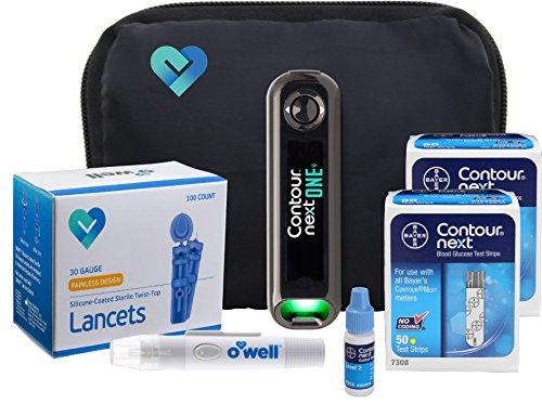 Contour NEXT ONE Diabetes Testing Kit, 100 Count   Glucometer, 100 Contour NEXT Test Strips, Contour NEXT Control Solution, 100 Lancets, Lancing Device, Manuals, Log Book & Carry Case