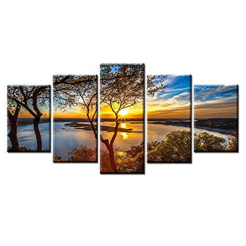 5 Piece Canvas Set (Beautiful 5 Pieces Wall Art Sunset Lake tree Landscape Canvas Paintings Posters Print on canvas Stretched and Framed Ready to Hang)