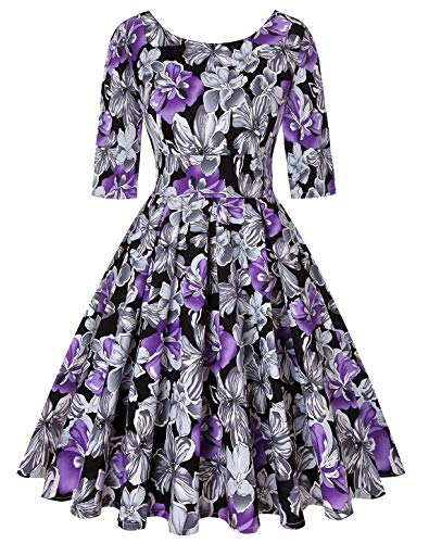 Fashion Vintage Retro (ROOSEY Women's Vintage Retro Cocktail Dress 1950s Rockabilly Dress for Evening)