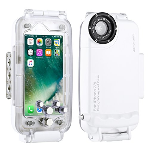 HAWEEL iPhone 7/8 Underwater Housing Professional [40m/ 130ft] Diving Case for Surfing Swimming Snorkeling Photo Video with Lanyard (iPhone 7/8, White) from Haweel