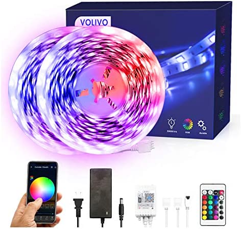 Volivo Smart WiFi Led Strip Lights 32.8ft, 2 Rolls of 16.4ft RGB Color Changing Led Strip Lights Works with Alexa, Music Sync Led Lights for Bedroom Home, Kitchen, Decoration