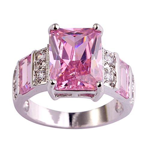 Psiroy 925 Sterling Silver Created Pink Topaz Filled Wide Band Engagement Ring Size 6