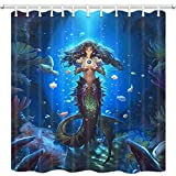 Fish Tales Shower Curtain DYNH Mermaid Shower Curtain, Mystic Underwater World with Fairy Tales of Marine Animal Girls Coral Fish Bath Curtain, Fabric Shower Curtain for Bathroom 12PCS Hooks 69X70 in Waterproof