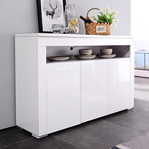 Mecor LED Light Adjustable Color Sideboard Buffet Storage White Kitchen Dining Room (3 door & Open shelf)