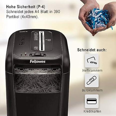 /& Basics Druckerpapier Fellowes Powershred 60Cs Partikelschnitt Aktenvernichter 10 Blatt, f/ür Zuhause und das Home Office, mit patentierter SafeSense Sicherheits-Technologie P-4