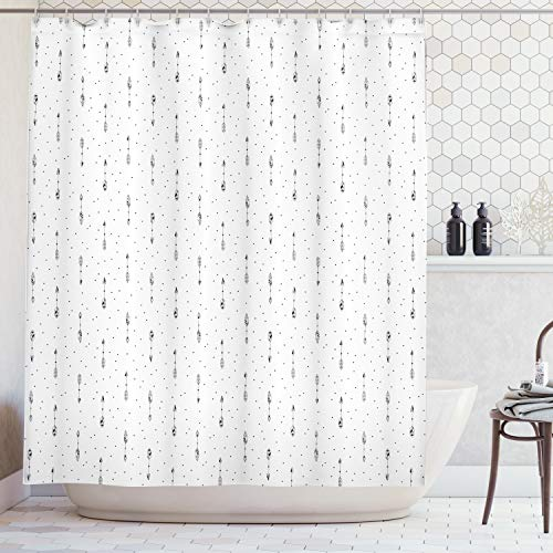 Ambesonne Abstract Shower Curtain, Minimalist Stylized Native American Arrow Pattern with Polka Dots Design, Fabric Bathroom Decor Set with Hooks, 75 Inches Long, Black White