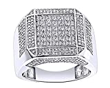 Wishrocks 14K White Gold Over Sterling Silver White Cubic Zirconia Hip Hop Iced Out Square Rings