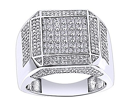 Wishrocks 14K White Gold Over Sterling Silver White Cubic Zirconia Hip Hop Iced Out Square Rings by Wishrocks