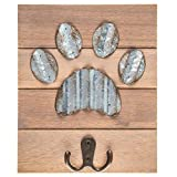 Galvanized Metal and Wood Dog Paw Print Wall Hook Home Decor 8'' x 6.5''