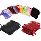 EDENKISS 100pc Organza Mixed Colors Jewelry Pouch Bags Display 5x7 Inches