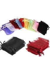 Wedding Party Favor Satin Drawstring Organza Bags Pouch (100Pcs,Random Color)
