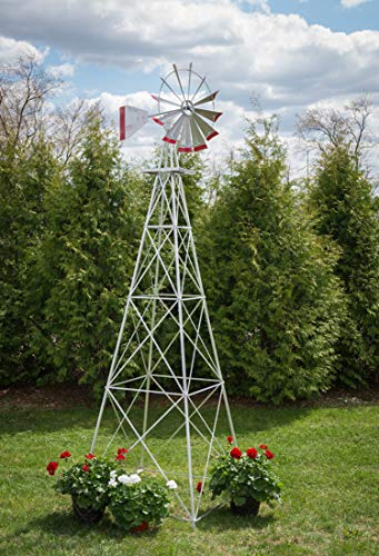 12 Ft Made in The USA Premium Aluminum Decorative Garden Windmill Green/Yellow Trim