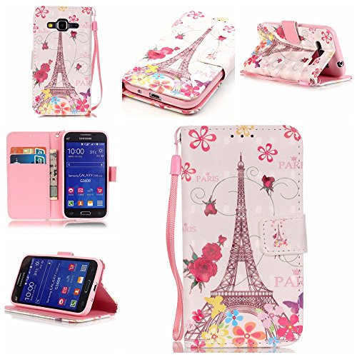 Galaxy Core Prime G360 Case,Firefish [3D Printing] PU Leather Flip Folio Kickstand Wallet Case with Card Slots and Magnetic Closure Wrist Strap for Samsung Galaxy Core Prime G360-Butterfly Tower
