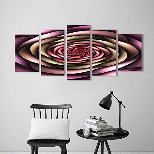 Wall Art for Living Room Decor 5 Piece Set Frameless Rose Petals Curved Winds Around Fixed Center Point at Increasing Digital Decor Multi for Home Modern Decoration Print Decor