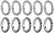 FENICAL Adjustable Toe Ring Elastic Exquisite Rhinestone Toe Ring Jewelry Gifts 10pcs (Assorted Color)