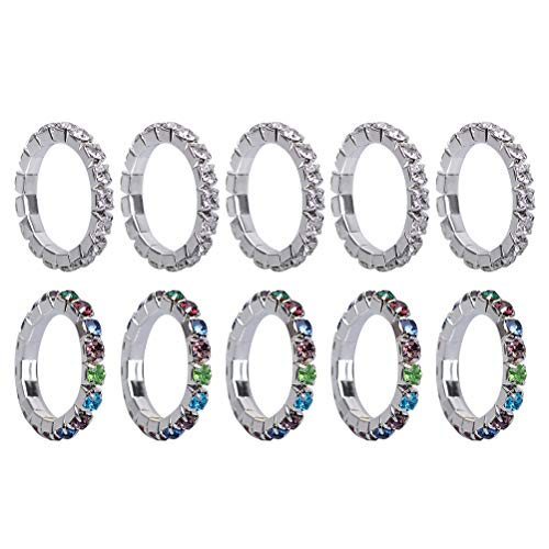TENDYCOCO 10pcs Elastic Toe Ring Stylish Exquisite Rhinestone Crystal Toe Ring Jewelry Body Jewelry Pack (5 Colorful+ 5 White)