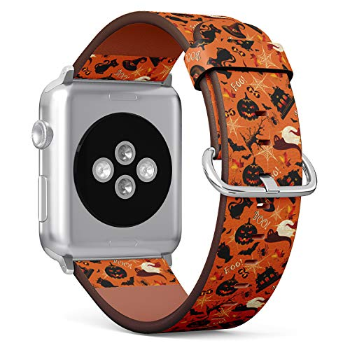 Black Cat Patterns Halloween (S-Type iWatch Leather Strap Printing Wristbands for Apple Watch 4/3/2/1 Sport Series (42mm) - Halloween Pattern with a Pumpkins, hauted House, Spider Web and Black)