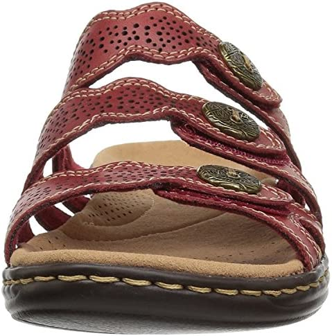 Clarks Womens Leisa Grace Leather Open Toe Casual Slide, Red Leather, Size 9.0