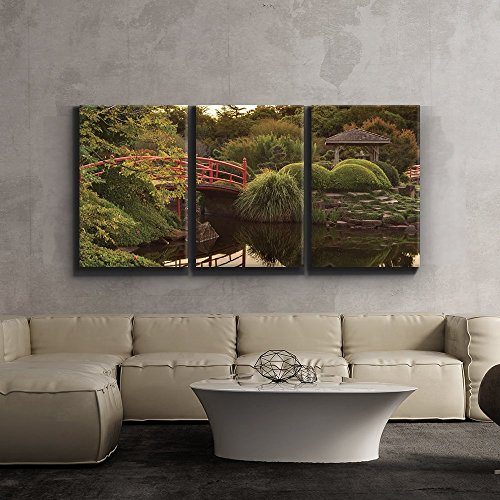 Print Contemporary Art Wall Decor Japanese footbridge and garden Giclee Artwork Gallery ped Wood Stretcher Bars x3 Panels