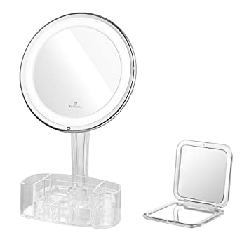 lighted makeup mirror amazon. jerrybox led lighted makeup mirror with acrylic organizer, 7× magnification, adjustable, amazon h