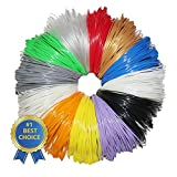 3D Pen Filament Refills - 50 STENCIL EBOOK & BONUS GLOW IN THE DARK COLOR INCLUDED - 1.75mm ABS - 240 Linear Feet Total of 12 Different Colors in 20 Foot Lengths