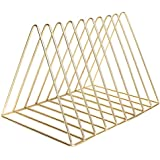 Triangle File Folder Racks and Magazine Holder,10 Lattice Metal Newspaper Holder Magazine File Storage for Office Home Decoration,Gold by Cq acrylic
