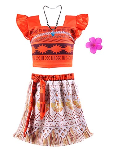 Okidokiyo Little Girls Princess Moana Costume Two-Piece Dress up, Orange), 3 years (Tag Size 100) -