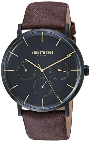 Kenneth Cole New York Men's Stainless Steel Analog-Quartz Watch with Leather Strap, Brown, 22 (Model: KC50207002)