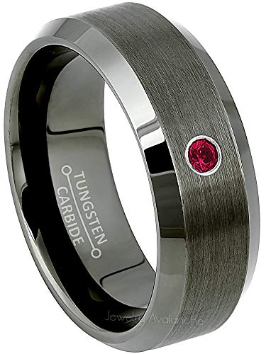 Jewelry Avalanche 0.07ct Ruby Mens Tungsten Ring - July Birthstone Ring - 8MM Beveled Edge Gunmetal (Dark Gray) Mens Tungsten Carbide Wedding Band, Anniversary Ring - - Mens Bands Ruby Gold