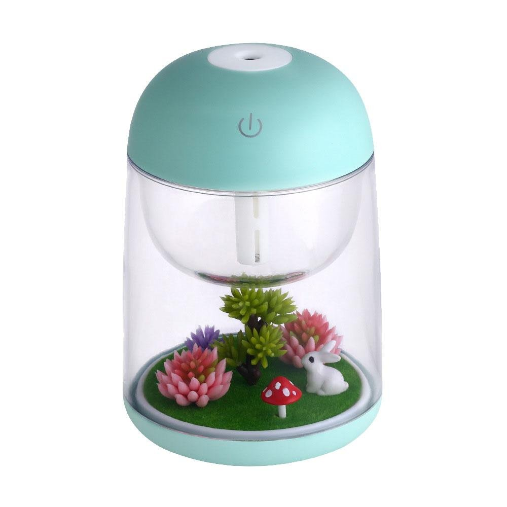 Aromatherapy Micro-Landscape Humidifier USB Essential Oil Diffuser, Aolvo 180ml Ultrasonic Waterless Auto Shut-Off, Whisper Quiet Humidifier Nightlight [Colorful Lights ,2 Timer Settings] Green