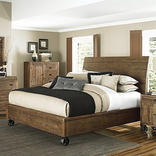 Magnussen River Ridge Wood Island Bed with Casters in Natural - Queen