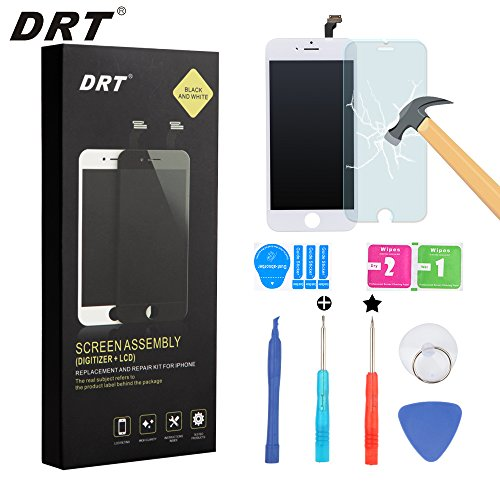 DRT OEM Replacement LCD Display Touch Screen Digitizer Frame Assembly  Set with Tools and DRT Screen Protector for iPhone 6 - White