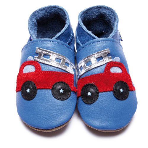 Inch Blue Firetruck Blue Leather Soft Soles Blue