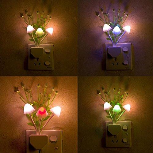 Iuhan Sensor LED Night Light, Romantic Colorful Sensor LED Mushroom Night Light Wall Lamp Home Decor (Multicolor) ()