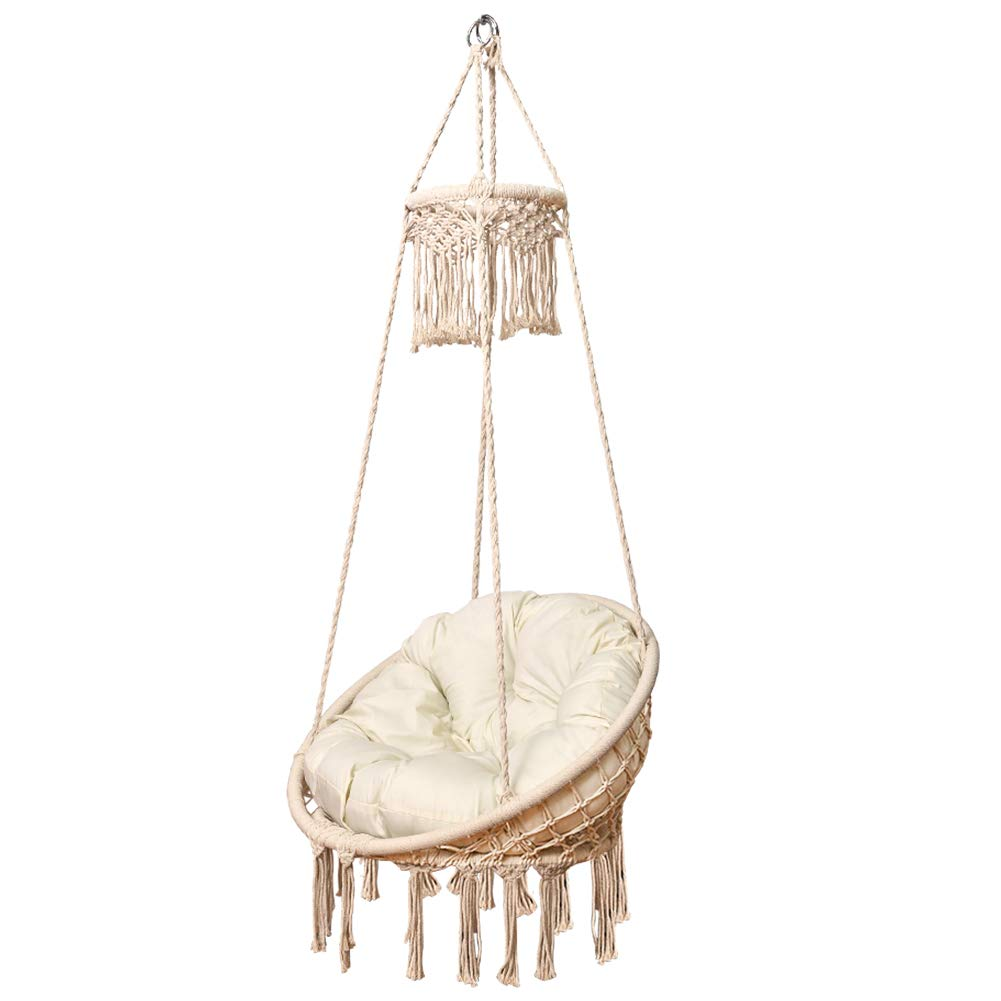 Lazy Daze Hammocks Handmade Cotton Rope Hanging Chair Macrame Hammock Swing Large Size with Top Circle Tassels, Includes Cushion, 330 Pounds Capacity, for Indoor, Garden, Patio, Yard Natural