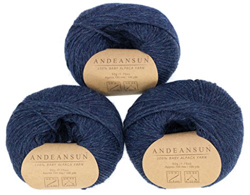 109 Yards Worsted Weight Yarn - 100% Baby Alpaca Yarn Skeins #4 Worsted, Afghan, Aran - SET OF 3 - AndeanSun - Luxuriously soft for knitting, crocheting-Great for baby garments, scarves, and hats