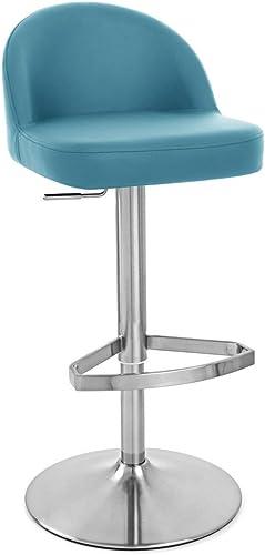 Zuri Furniture Teal Mimi Adjustable Height Swivel Armless Bar Stool