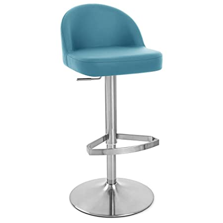 Zuri Furniture Teal Mimi Adjustable Height Swivel Armless Bar Stool