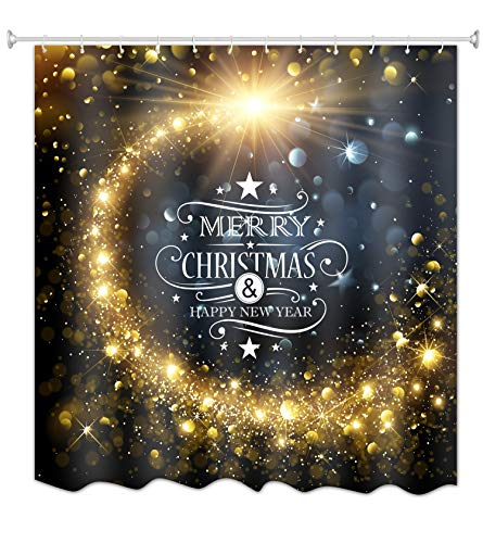 Goodbath Christmas Shower Curtain, Merry Christmas Happy New Year Moon Star Waterproof Mildew Resistant Bathroom Curtains, 72 x 72 Inch, Gold Blue -