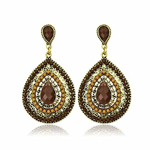 Beaded Teardrop Earrings - Yozone Bohemian Style Vintage Gemstone Beaded Drop Earrings