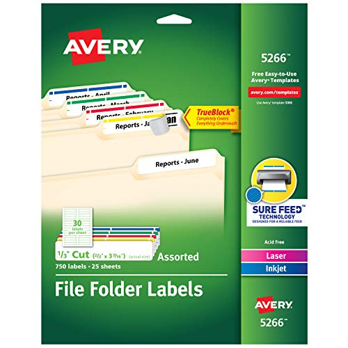 Avery File Folder Labels in Assorted Colors for Laser and Inkjet Printers with TrueBlock Technology, 0.67 x 3.43 Inches, Pack of 750 (5266)(Packaging May Vary)