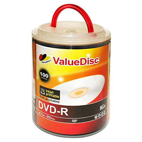 AAA grade Value Disc DVD-R 4.7G 16X White Inkjet Printable 100 Pack in Spindle by Value Disc