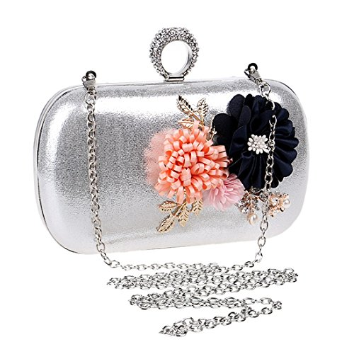 Silver Bag Bag Handbag Evening Handmade Flowers Simple Shoulder Bag Crossbody JESSIEKERVIN Clutch HqwUPSn