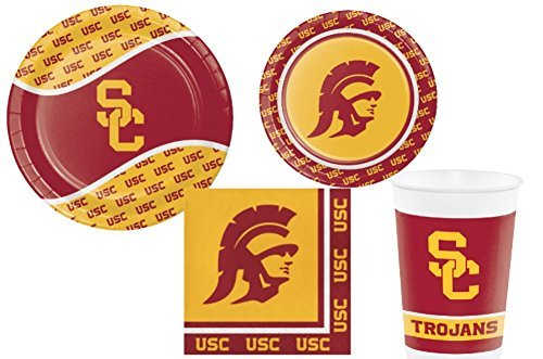 University of Southern California Trojans Party Supply Pack! Bundle Includes Plates Napkins & Cups for 8 Trojan -