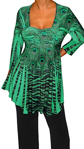 Funfash Plus Size Women Slimming Green Black Rhinestones Top Blouse Made In - Top Usa In Brands