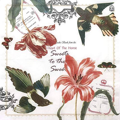 Brids & Tulips Paper Napkins, 20 Count